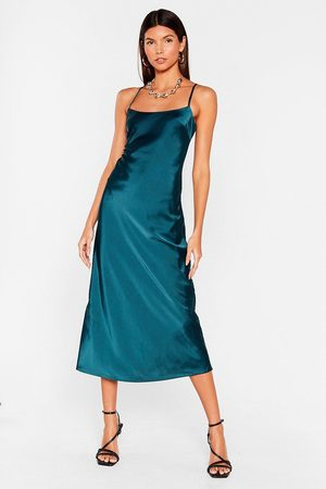 NASTY GAL Womens Take a Sleek Peak Satin Midi Dress - - 4