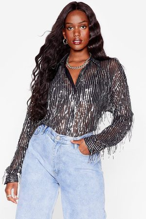 NASTY GAL Womens Sequin Me Out Plus Oversized Shirt - - 16
