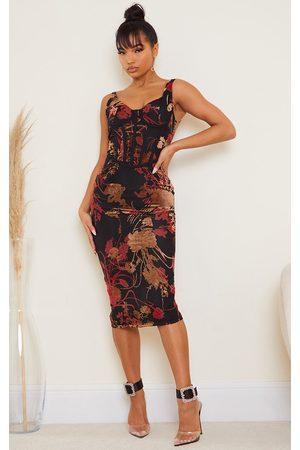 PRETTYLITTLETHING Multi Floral Flocked Sleeveless Corset Detail Midi Dress