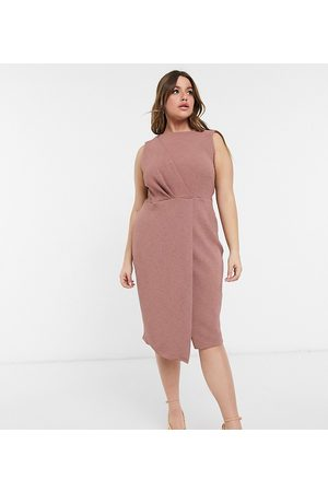 Closet Wrap detail pencil dress in deep winter rose