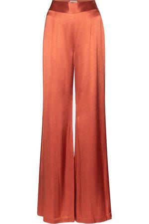 GALVAN Lido high-rise wide-leg satin pants