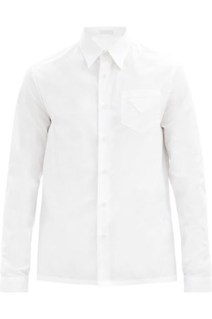 Prada Men T-shirts - Triangle-patch Cotton-poplin Shirt - Mens