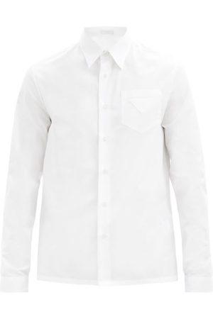 Prada Triangle-patch Cotton-poplin Shirt - Mens