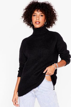 NASTY GAL Womens Knit's Anyones Game Oversized Turtleneck jumper - - S