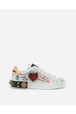 Dolce & Gabbana Best Seller Men - PRINTED CALFSKIN NAPPA PORTOFINO SNEAKERS WITH PATCH AND EMBROIDERY male 43