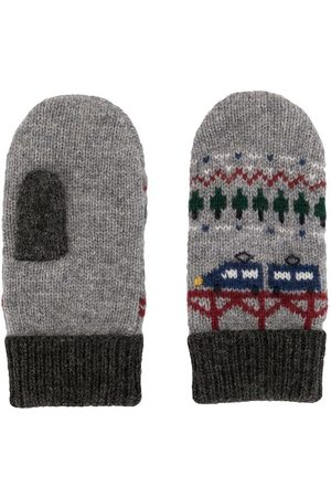Familiar Intarsia knit wool-blend mittens