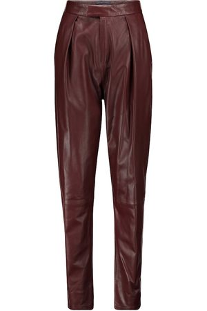 Zeynep Arcay Women Leather Trousers - High-rise pleated leather pants