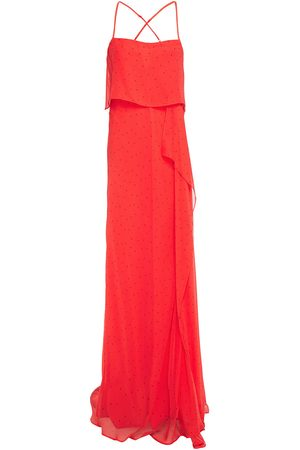 Michelle Mason Woman Draped Polka-dot Silk-chiffon Gown Papaya Size 0