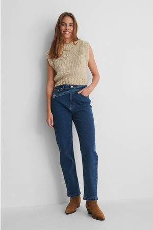 NA-KD Waist Detail Straight Jeans - Blue