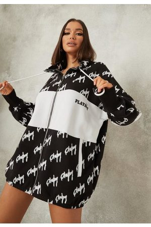 Missguided Playboy X Repeat Print Zip Through Oversized Sweater Dress