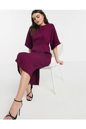 Closet Ribbed pencil dress in plum