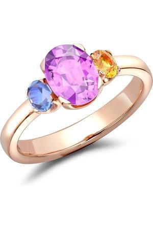 Pragnell 18kt rose gold Rainbow Fancy Three-Stone sapphire ring