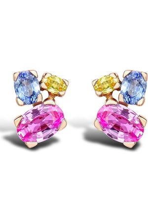 Pragnell 18kt rose gold sapphire Rainbow stud earrings