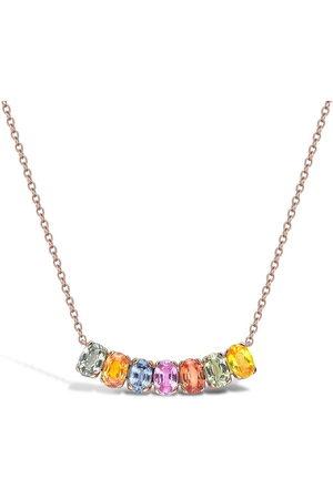 Pragnell 18kt rose gold Rainbow Fancy sapphire line pendant necklace