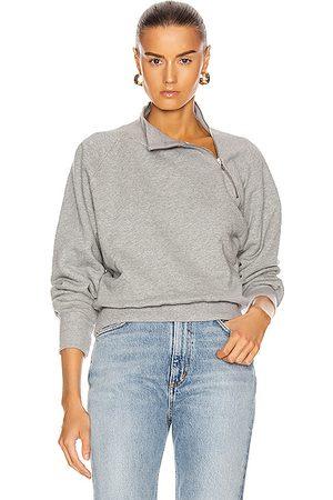 Marissa Webb So Uptight Funnel Neck Zip Sweatshirt in Heather