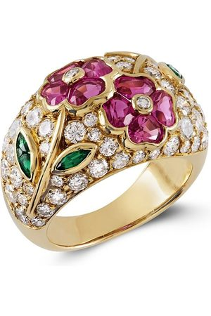 Van cleef 18kt yellow floral diamond, emerald and pink sapphire ring