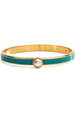 Halcyon Days Gold-Plated Cabochon Pearl Bangle