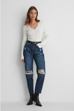 NA-KD Ripped Knee High Waist Jeans - Blue