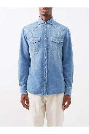 Brunello Cucinelli Snap-button Washed-denim Cotton Shirt - Mens