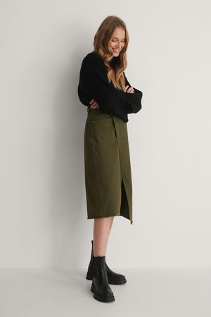NA-KD Asymmetric Denim Skirt - Green
