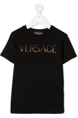 VERSACE Stretch-cotton logo embellished t-shirt