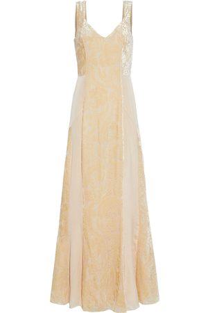 MYLA Women Nightdresses & Shirts - Woman De Beauvoir Crepe De Chine-paneled Devoré-velvet Nightdress Peach Size S