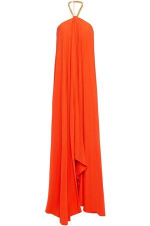 Oscar de la Renta Woman Chain-trimmed Pleated Crepe Halterenck Gown Bright Orange Size 10