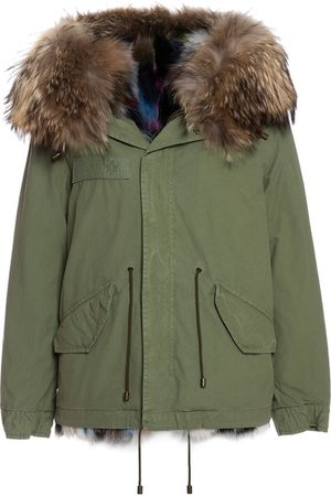 Mr & Mrs Italy Fw20 Icon Parka: Army Cotton Mini Parka With Patch Fox Fur Lining