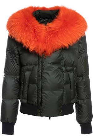 Mr & Mrs Italy Short Puffer Jacket For Woman With Raccoon Fur