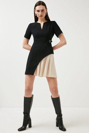 Karen Millen Karen Millen Tailored Military Pleat Short Sleeve Dress -, Mono