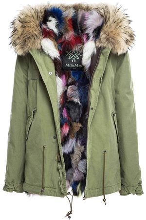 Mr & Mrs Italy Women Parkas - Fw20 Icon Parka: Army Cotton Mini Parka With Patch Fox Fur Lining