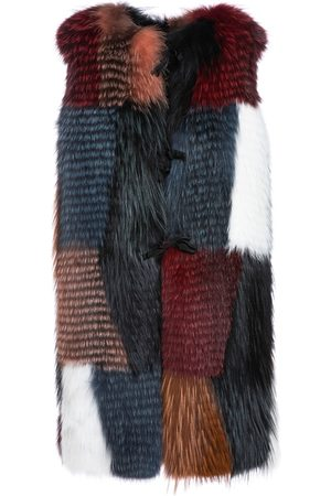 Mr & Mrs Italy Long Waistcoat For Woman In Fox Fur