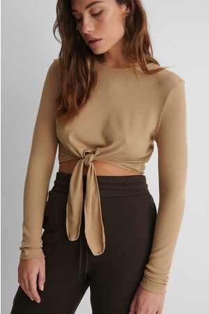 NA-KD Ribbed Knot Detail Top - Beige
