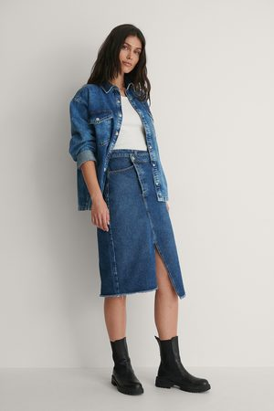 NA-KD Asymmetric Denim Skirt - Blue