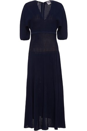 Hervé Léger Hervé Léger Woman Ribbed-knit Midi Dress Midnight Size L