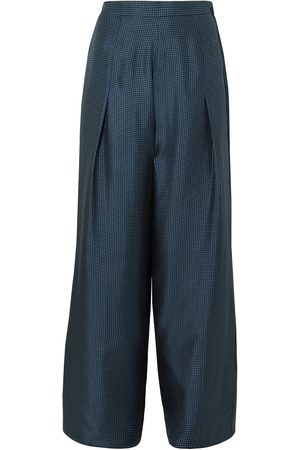 Giuliva Heritage Collection Women Wide Leg Trousers - Woman Amanda Polka-dot Silk-satin Wide-leg Pants Midnight Size 36