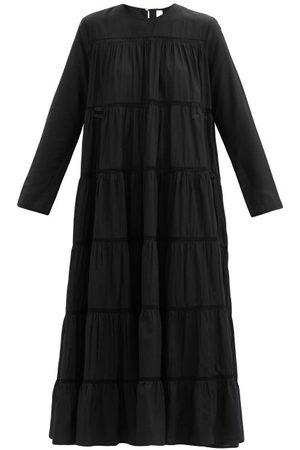 MERLETTE Women Midi Dresses - Maida Tiered Cotton And Silk-blend Midi Dress - Womens