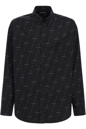 Balenciaga Diagonal License Cotton Poplin Shirt