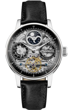 INGERSOLL 1892 The Jazz Silver Skeleton Moonphase Automatic Dial Black Leather Strap Watch