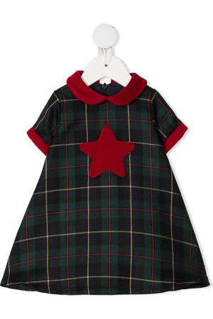 LA STUPENDERIA Tartan star-patch dress