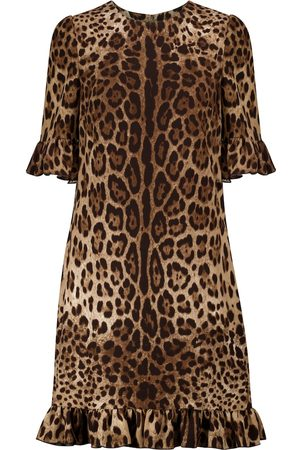 Dolce & Gabbana Women Printed Dresses - Leopard-print cady minidress