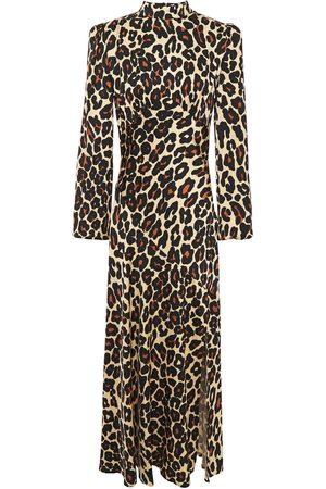 De La Vali Woman Clara Gathered Leopard-print Satin Maxi Dress Size 10