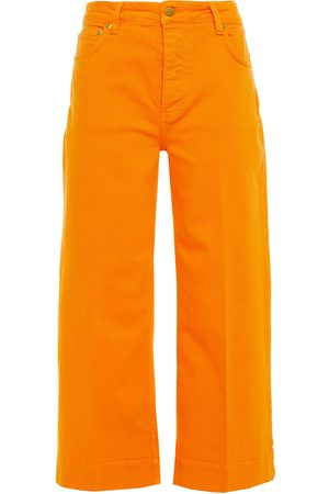 Victoria Victoria Beckham Woman Cropped High-rise Wide-leg Jeans Marigold Size 24