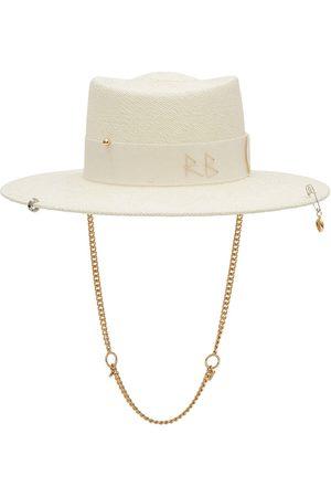 Ruslan Baginskiy Chain Strap Straw Gambler Hat