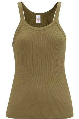 RE/DONE Ribbed Cotton-jersey Tank Top - Womens - Khaki