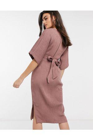Closet Ribbed tie kimono sleeve midi dress in winter rose