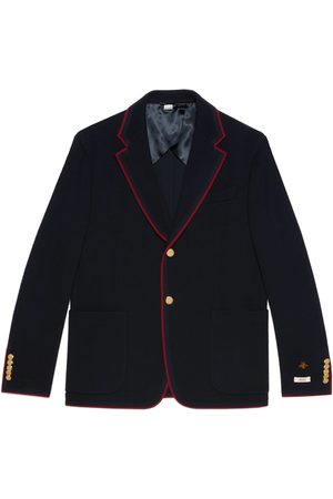 Gucci Men Coats - Wool cotton jersey jacket with patches