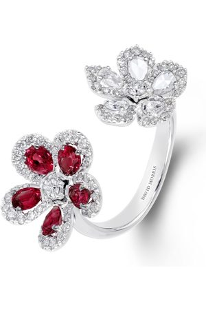 David Morris Women Rings - White Gold, Diamond and Ruby Miss Daisy 2 Flower Ring