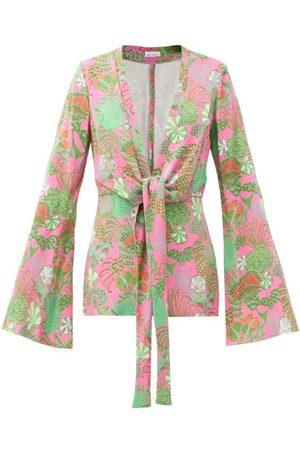 Raey Women Pyjamas - Knot-front Psychedelic Floral-print Pyjama Jacket - Womens - Multi