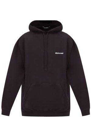 Balenciaga Logo-embroidered Cotton-jersey Hooded Sweatshirt - Mens